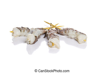 Raw eby shrimp isolated on white background Shashlik