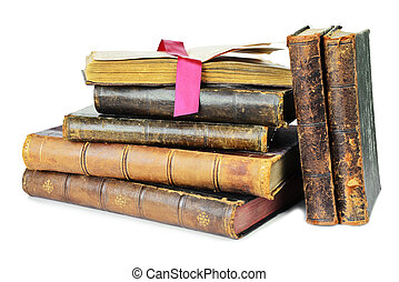 Old books on a white background