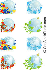 set of globes four seasons - vector set with illustrations...