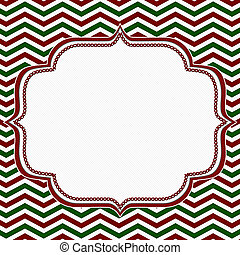 Red, Green and White Chevron Frame with Embroidery...