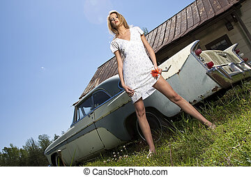 Young Model With Old Car - Young model outside with old...