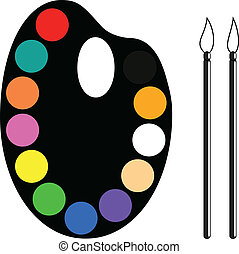 Palette and brushes - Art palette with twelve colors and...