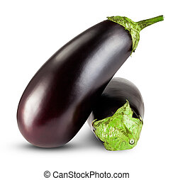 eggplants - Black eggplants isolated on white background....
