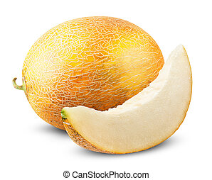 yellow melon - Ripe fresh yellow melon on a white...