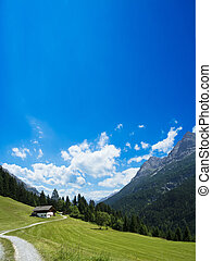 house in the alps - a beautiful scenery in the austrian...