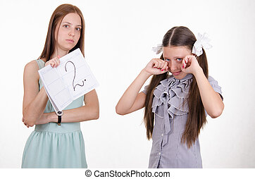 Schoolgirl crying because of two entries - The teacher once...