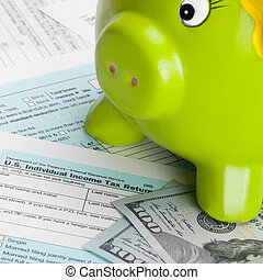 United States of America Tax Form 1040 with piggy bank - 1...