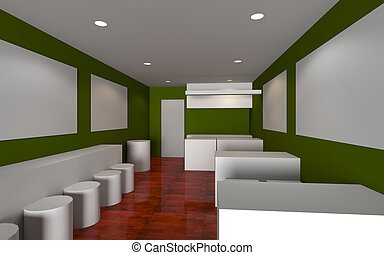 Green Cafe shop Interior 3d render, mock-up design