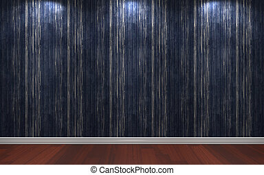 Interior Line Blue Wall Paper