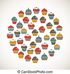 Colorful cupcakes icons
