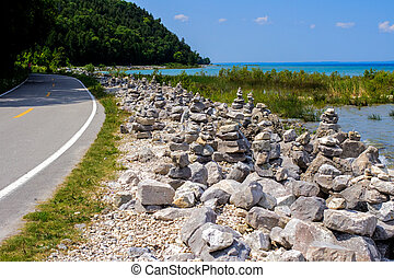 The Mackinaw Island Highway - Highway M185 located on...