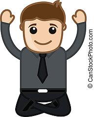 Yoga Practicing - Happy Man Vector