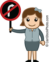 Turn Not Allowed Vector - Cartoon Office Girl Showing Right...