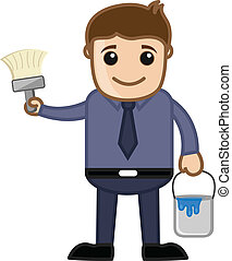 Man Holding Paint Bucket and Brush - Cartoon Man with Paint...