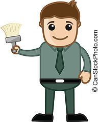 Man Showing Paint Brush Vector - Renovation - Cartoon Man...