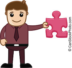 Man Showing Piece of Jigsaw Puzzle