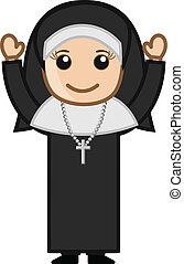 Happy Cute Cartoon Nun Character - Cartoon Vector Character...