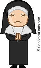 Nun Praying to God - Cartoon Vector