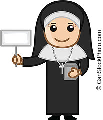 Happy Nun Showing Blank Banner - Happy Cartoon Nun...