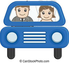Cartoon Married Couple in Car - Newly Weds Couple Going in...