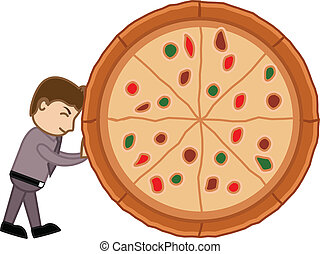Cartoon Man Dragging Pizza Vector - Cartoon Vector Man...