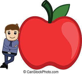 Man Standing with an Apple