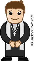 Happy Cartoon Christian Priest - Happy Priest Praying -...
