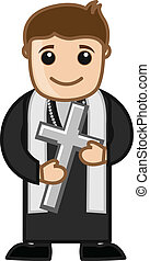 Priest Holding a Holy Cross Vector - Cartoon Priest Holding...