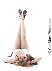 Young Woman With Leg Raised - Beautiful Young Woman Lying On...