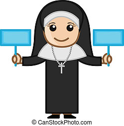 Nun Holding Two Banners Vector - Happy Cartoon Nun Holding...