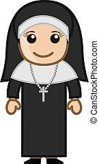 Cute Holy Nun - Vector - Cute Cartoon Holy Nun Character...