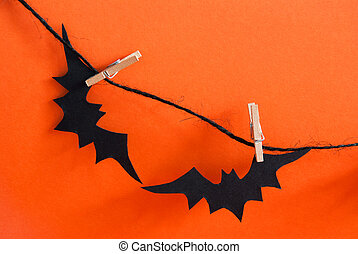 Two Black Bats on a Line - Two Black Bats on a Black Line on...