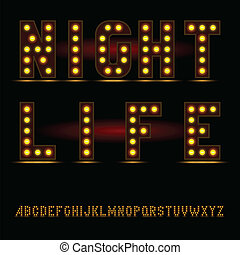 lightbulb alphabet font night life