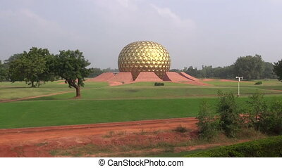 Matrimandir - Temple in Auroville - Matrimandir - Golden...