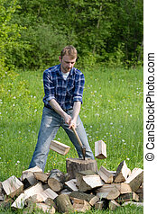 Cutting wood  - Young men is preparing firewood
