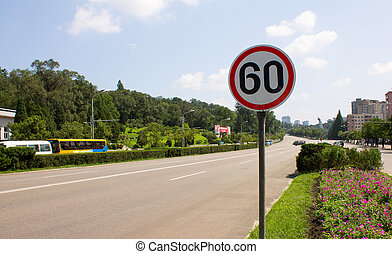 the speed limit sign on the street in Pyongyang. North Korea