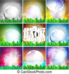 Set Of Colored Abstract Background of globe with grass...