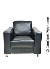 Leather black chair isolated