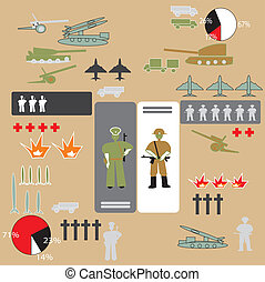 soldiers infographic - Military infographic with soldiers,...