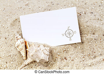 Seashells with blank card on a sandy background