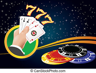 casino Gambling - Logo for the casino Four aces in hand...