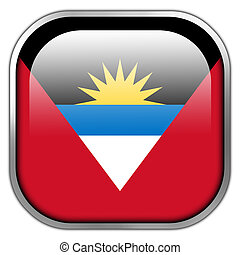 Antigua and Barbuda Flag square glossy button
