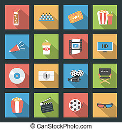Cinema flat icons set - Cinema icons set flat design vector...
