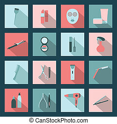 Beauty salon flat icons set vector graphic design