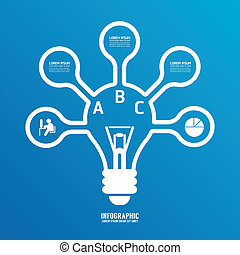 light bulb line infographics options banner.can be used for...