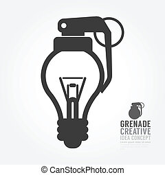 Vector light bulb distortion from grenade concept of...