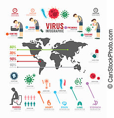 Infographic virus icons set template design outbreaks...