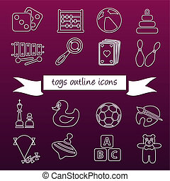 toys outline icons
