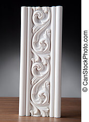 White Stucco modling - Fragment of white stucco molding,...