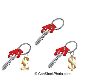 RED HOUSE KEY WITH DOLLAR POUND FOB